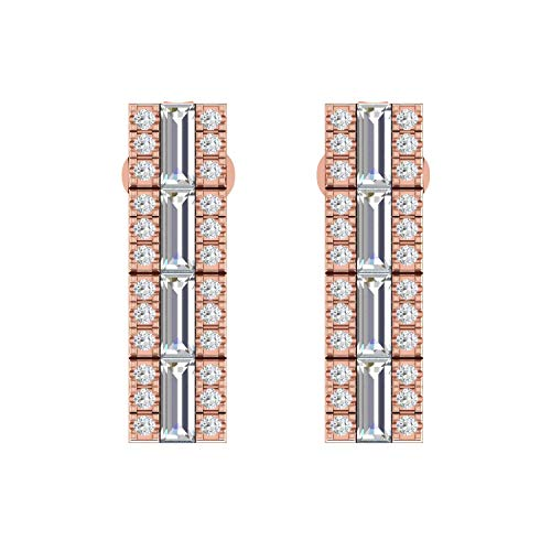 ASHNE JEWELS IGI Certified 0.19 Carat Round-Shape Natural Diamond (G-H Color, I1-I2 Clarity) 14K Rose Gold Stud Earrings For Women
