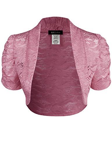 ELF FASHION Women Top Short Sleeve Floral Lace Shrug Open Front Bolero Cardigan (Size S~3XL) Dustypink 2XL