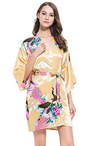 regalo idea di Fete Gold floreale Meravigliose morbido in Set disegno vestaglie con Fabulous raso Eccellente 2 Kimono qZAw64FZn