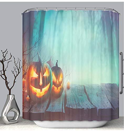 BEICICI Color Shower Curtain Liner Anti-Mildew Antibacterial Halloween Design with Pumpkins Custom Shower Curtain Bathtub Bathroom Accessories 66W×72Linch