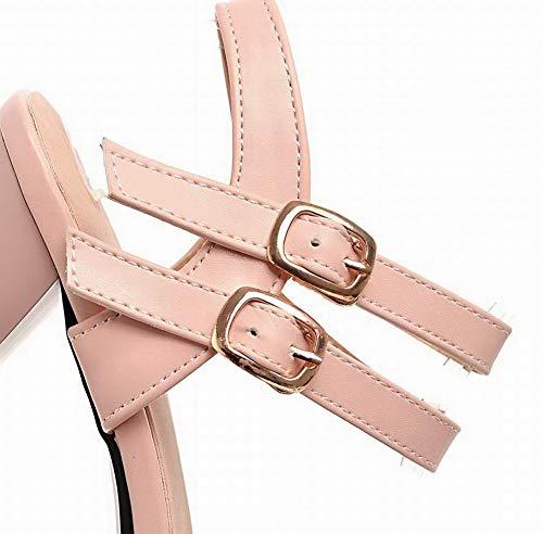 Rose AgooLar Talon Couleur Sandales Unie GMBLB015285 Haut Femme à Boucle wwzIq
