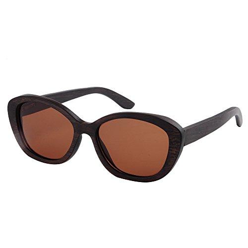 Retro conducción Hechos Gu de de Peggy Mano Pesca de Madera Gafas Ojos polarizada a UV de Sol Hombres Protección de Marco de TAC Gafas Lente Sol Gato Marrón de Aire Libre Playa los de al wSPx86Pqn