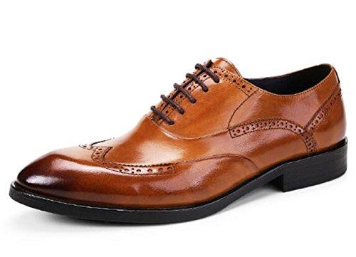 Happyshop (tm) Brittisk Stil Mens Läder Sko Oxfords Derbyn Snörskor Finskor Bröllop Skor Brun (25858)