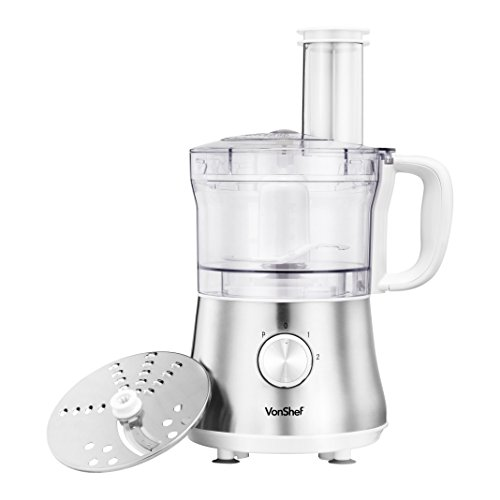 VonShef 4.5 Cup Powerful Food Processor Blender Chopper Multi Mixer, Silver - 2 Speed and Pulse Action