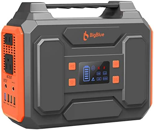 BigBlue 250Wh Portable Power Station with 110V Pure Sine Wave AC Outlet 2 DC Ports 4 USB Ports, CPAP Battery Backup Power Supply, Battery Generator with Flashlight for Outdoors Camping, Emergency