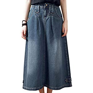 Flygo Women's Vintage High Waisted A-Line Midi Long Denim Jeans Skirt with Pockets