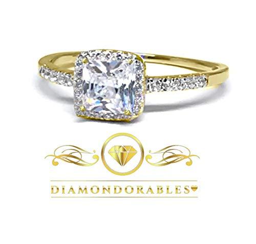 DIAMONDORABLES 18K Yellow Gold Silver Asscher Princess Cut Lovely Ring 1.76 Ctw.
