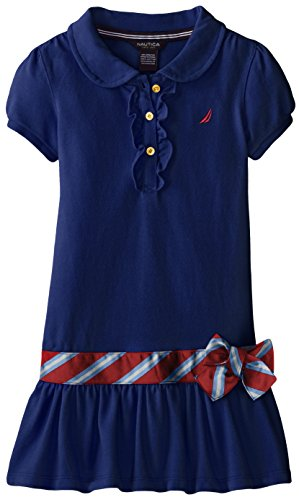 Nautica Little Girls' Pique Polo Dress with Gold Buttons, Medium Navy, 6X