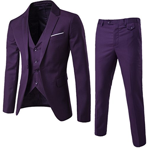 WULFUL Men's Suit Slim Fit One Button 3-Piece Suit Blazer Dress Business Wedding Party Jacket Vest & Pants Purple]()