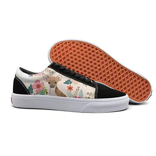 PDAQS Cute Pets Chihuahua Dog and Floral Women Canvas Shoes oldskoo Tenis Shoes Low top