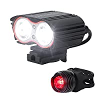 Victagen Bike Front Light,Super Bright Waterproof Bicycle light,USB Rechargeable 2400 Lumens led cycle light, FREE Tail Light,Easy to Install Safety LED Flashlight for Cycling,Commuting,Riding