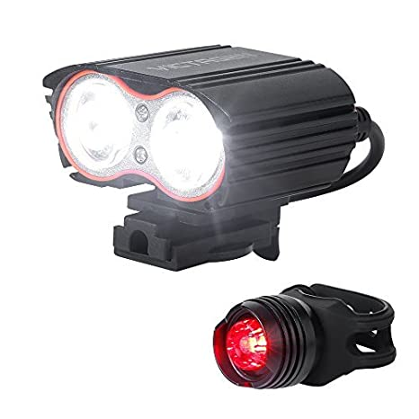 BYBO/® Waterproof 2400 Lumens 2x Cree XML T6 USB Rechargeable LED Bike Bicycle Cycling Front Lights Set Mountain Bike Lights Front and Back MTB Lights for Night Riding Road Bike Lights Rechargeable