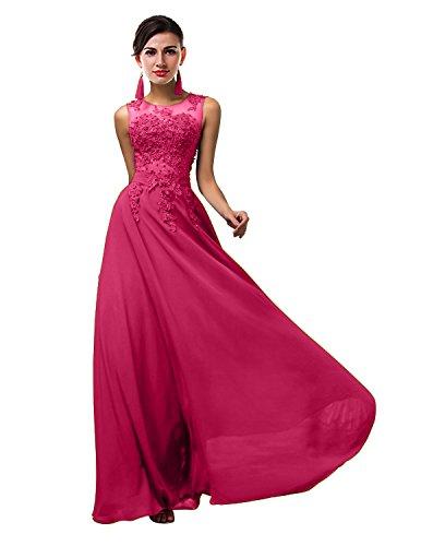 VaniaDress Women Elegnat Lace Sheer Neck Bridesmaid Evening Dress Prom Gown V002LF Fuchsia US18W from VaniaDress