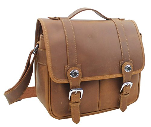 Leather Traveler Grain Case Top - Vintage Full Grain Leather Full Grain Cowhide Leather Camera Bag LH16. Brown