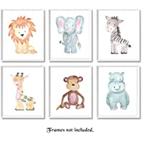 Baby Safari Animals Prints for Nursery - Set of 6 8x10 Poster Pictures of Lion, Elephant, Zebra, Giraffe, Monkey & Hippo - Unframed Wall Art for Baby's Room - Great Wall Art Decor for Baby Shower