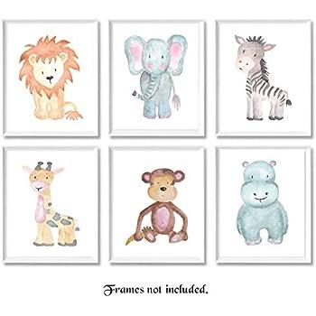 image about Free Printable Baby Safari Animals identified as : Nursery Wall Artwork Animal Paintings Fastened of 4
