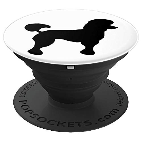Black Poodle Dog Design On White Background - PopSockets Grip and Stand for Phones and -