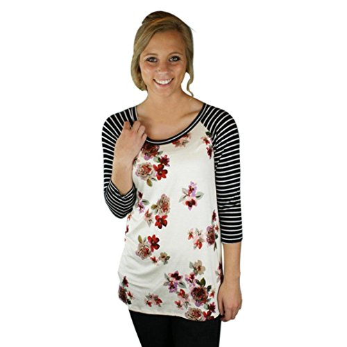 Elevin(TM)Women Ladies Casual Floral Striped Splice Round Neck Blouse Tops TShirt (S, White)