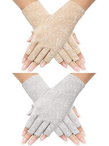 (Maxdot 2 Pairs Women Sunblock Fingerless Gloves Non Skid Summer Gloves UV Protection Driving Gloves (Grey, Khaki))