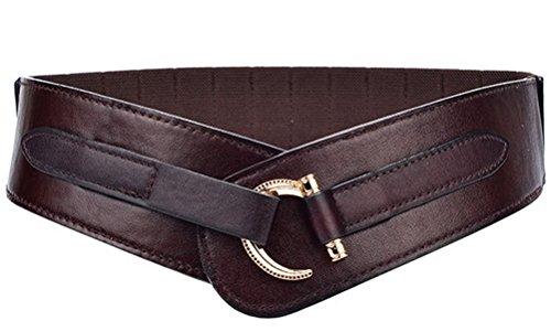 TY belt Women Leather Belt Fashion Hook Designed Buckle Wide Waist Belt Chic Elastic Stretch Waist Band (coffee)