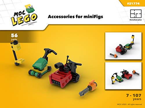 Accessories for miniFigs (Snowblower, mower, chainsaw and weedwacker) (Instruction Only): MOC LEGO