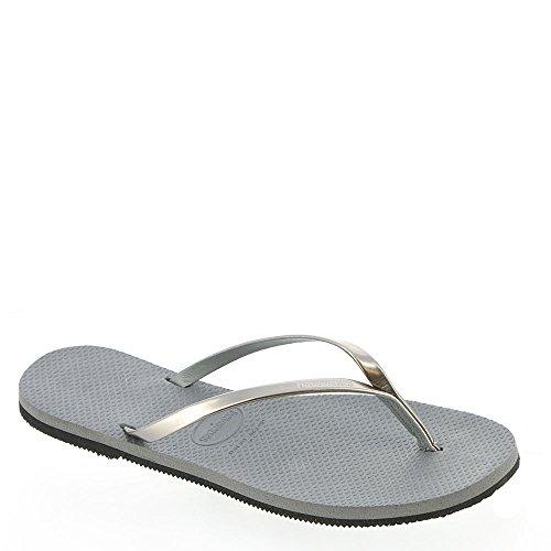 Havaianas Women's You Metallic Sandal, Steel Grey,37/38 BR (7-8 M US) - Metalic Strap High Heel