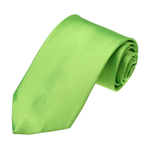 Dan Smith DAA3E01U Lime Green Solid Microfiber Tie For Boss Necktie Best For Business ()