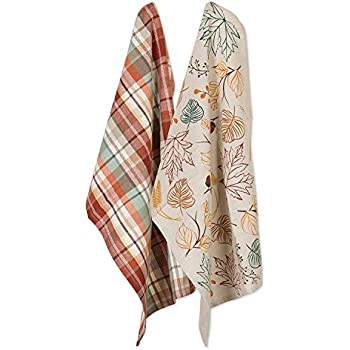 DII CAMZ10700 Dish, Decorative Oversized Embroidered Kitchen Towels, Dishtowel S/2, Asst. Autumn Leaves, 2 Pack