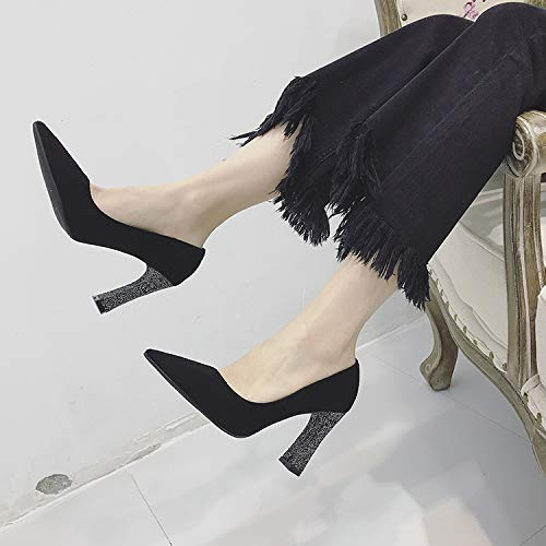 Shoes Black Shoes alti Single Pointed Tacchi Mouth Heels Thick Wild Shallow Shiny Temperament Shoes Yukun 6FxUOqU