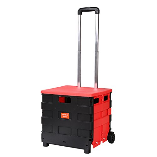 55 Lbs Capacity Two-Wheeled Rolling Retractable Hand Cart Folding Hand Utility Cart Trolley Handcart With Lid for Shopping Travel Casual, (14.4 x 12.9 x 14inch), (Black and Red) by Korie