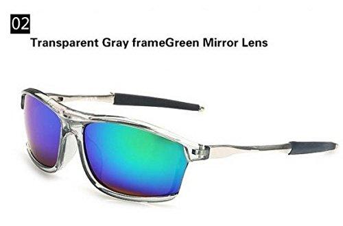 2015 Fashion Transparent frame Sunglasses men Brand Designer cycling Glasses Coating Mirrors Outdoors sun glasses for men Oculos (Red Mirror Lens)