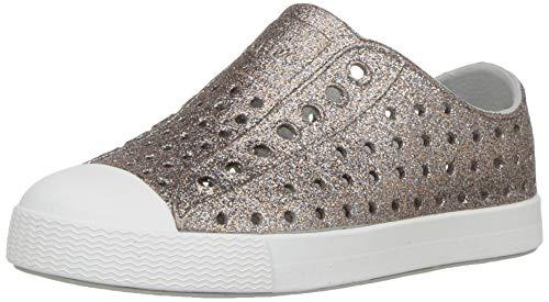 Native Kids Shoes Baby Girl's Jefferson Bling (10 M US, Metal Bling/Shell White)