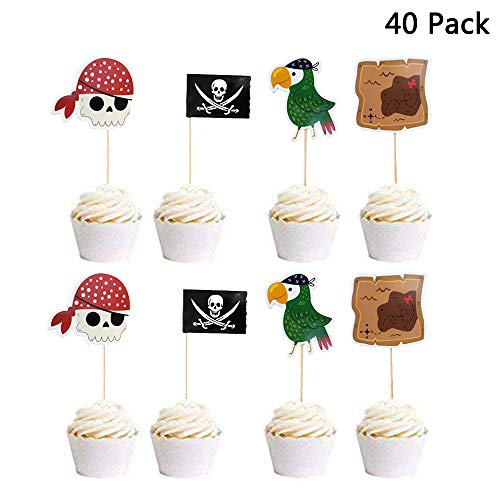 Finduat 40 Pieces Pirate Themed Cupcake Toppers Decorations for Kids Birthday Party Cake Decoration Supplies