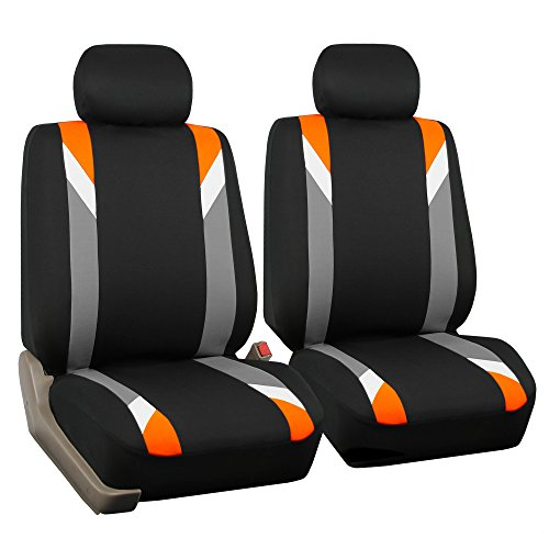 FH GROUP FH-FB033102 Premium Modernistic Seat Covers Orange / Black- Fit Most Car, Truck, Suv, or Van