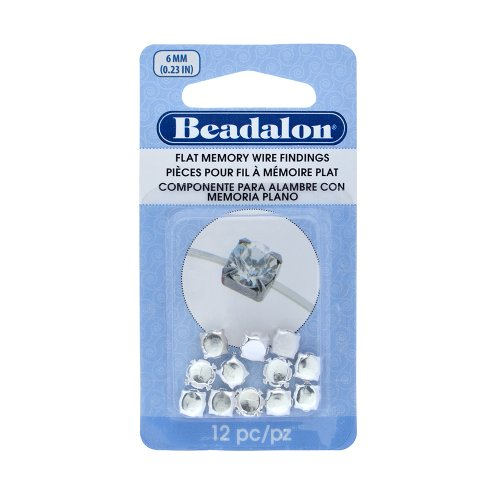 Beadalon 12-Piece Flat Memory Round Cup 6mm Stone Wire Finding, 0.236-Inch, Silver Plated 12 Piece Jewelry Findings