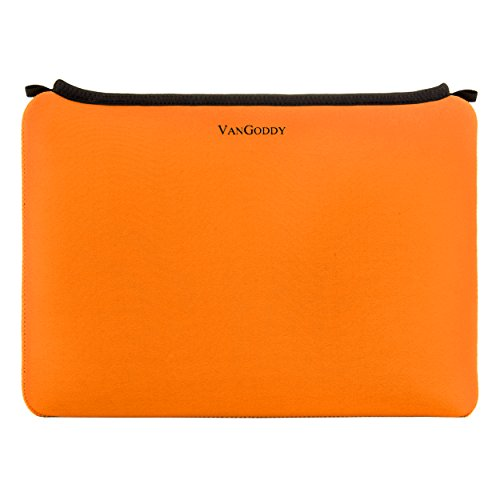 Samsung Galaxy Tab A/Galaxy Tab S2 9.7/Apple iPad Pro/Asus ZenPad 3S 10 Orange VanGoddy Neoprene Smart Case Tablet Carrying Sleeve - 10 + Matching Headphones + Suction Cup Bluetooth Speaker