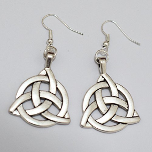 Tribal Celtic Knot Earrings Silver Trinity Knot Charm