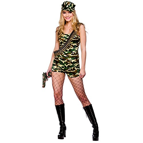 Army Babe Costume (Adults Ladies Bootcamp Babe Costume for Army Soldier Superhero Cosplay US Size)
