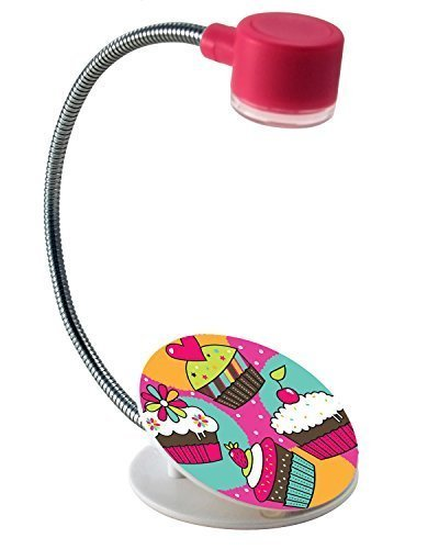 Extra-Bright Compact 2 LED Book Reading Light Lamp - Soft Padded Sturdy Clamp – Flexible Metal Neck - Bed, Office Desk, Travel, Camping, Portable Emergency Flashlight – White, Red-Cupcake Design