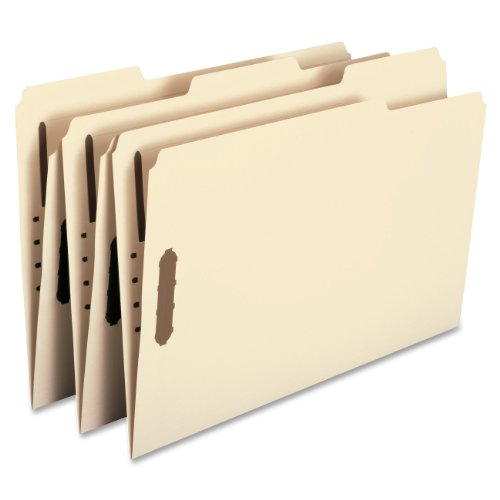 Smead 19537 Fastener File Folder, 2 Fasteners, Reinforced 1/3- Cut Tab, Legal Size, Manila, 50 Per Box ()