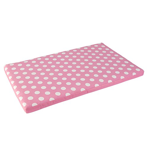 - KidKraft Austin Toy Box Cushion, White/Pink Polka Dots