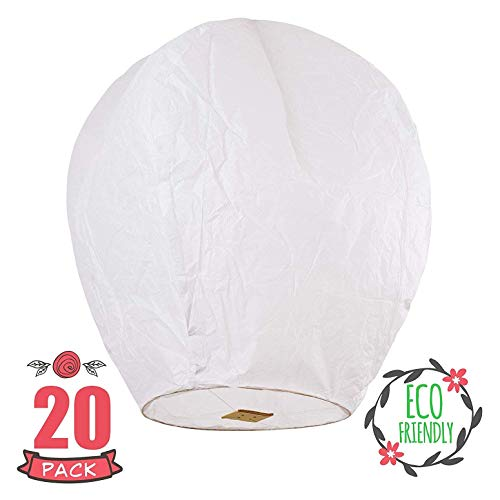 Sky High  Fully assembled and Fully biodegradable Chinese lanterns, 20-pack, white