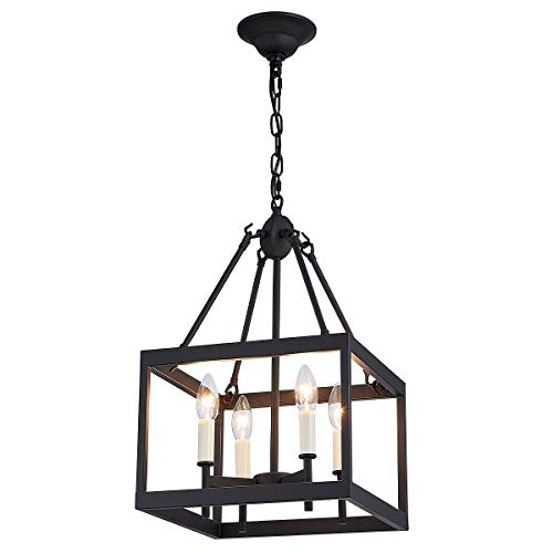(ANJIADENGSHI Vintage Lantern Pendant Light Lantern Iron Cage Adjustable Hanging Height with 4 E12 Bulbs Lantern Chandelier for Dining Room Bar Cafe, Matte Black )