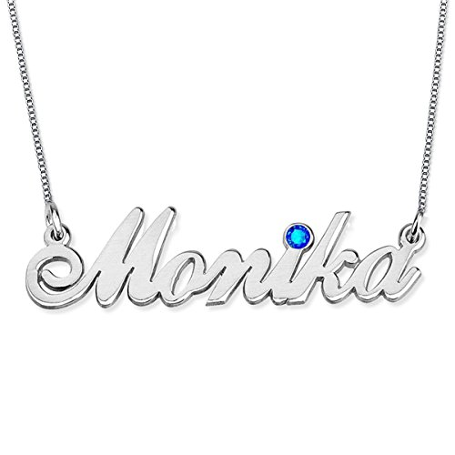 HACOOL Personalized 925 Sterling Silver Birthstone Name Necklaces Pendants Custom Made with Any Names ()