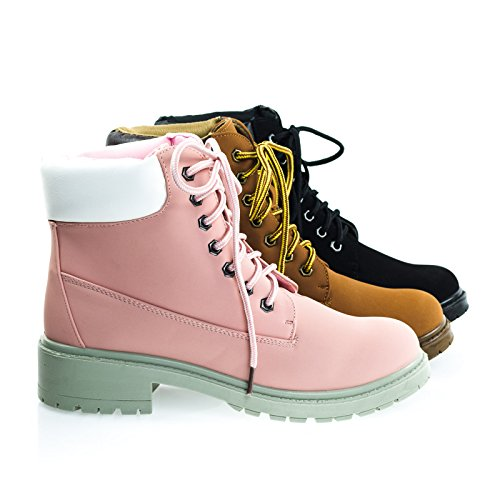 Trekking01 Solid Pink Super Light Weight Fashion Work Boots w Lug Sole, Padded Collar -7.5