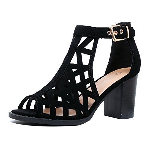 Guilty Heart | Womens Strappy Cut Out Perforated Open Toe Shoe | Block Chunky Mid Heel Comfortable Walking Sandals (7.5 B(M) US, Blackv9 Pu) (Open Lady Toe Sandal Strappy)