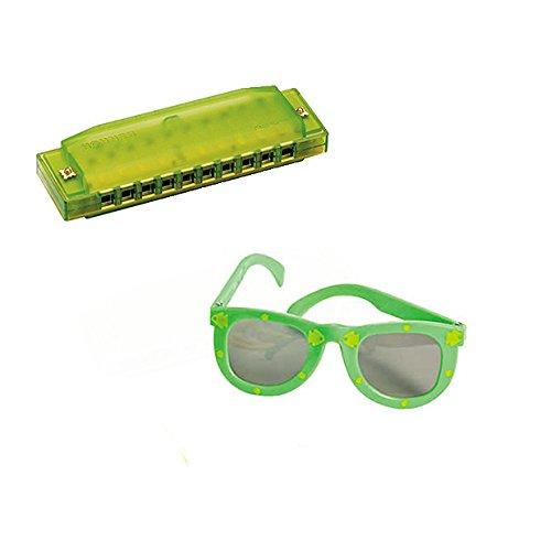 VBS Island Theme -Music 4 Pack W/Green Harmonicas & Kids' Fish Print Green Sunglasses