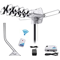 Housmile Outdoor TV Antenna Stable Signal with HD Antenna 360° Rotation 150 Miles Widely Signal Range, UHF/VHF/FM Radio with Wireless Remote Control