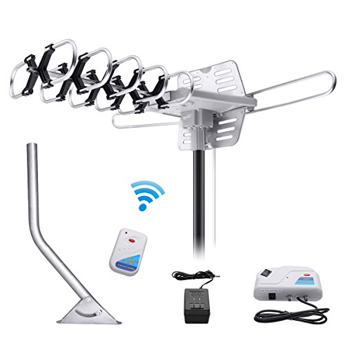 Review Housmile Outdoor TV Antenna Stable Signal with HD Antenna 360° Rotation 150 Miles Widely Signal Range, UHF/VHF/FM Radio with Wireless Remote Control