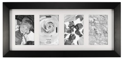 Malden International Designs Berkeley Matted Black Wood Colllage Picture Frame, 4 Option, 4-4x6, Black (For 4x4 Photos Frame)